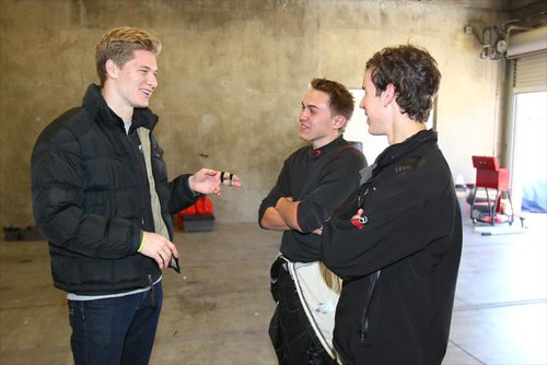 Josef Newgarden talking with drivers | by indianapolismotorspeedway.com