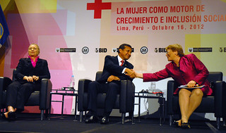 "UN Women Executive Director Michelle Bachelet takes part in the opening ceremony of the event ""Power: Women as Drivers of Growth and Social Inclusion,"" with Peruvian President Ollanta Humala Tasso and US Secretary of State Hillary Rodham Clinton 