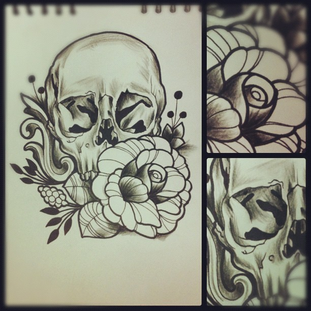 Neo Traditional Skull Flash Skull and rose.
