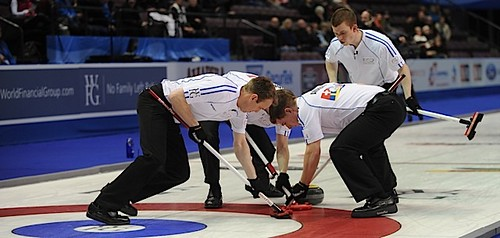 Penticton B.C.Jan11_2013.World Financial Group Continental Cup.Team World skip Tom Brewster,third Greg Drummond,second Scott Andrews,lead Michael Goodfellow,CCA/michael burns photo | by seasonofchampions