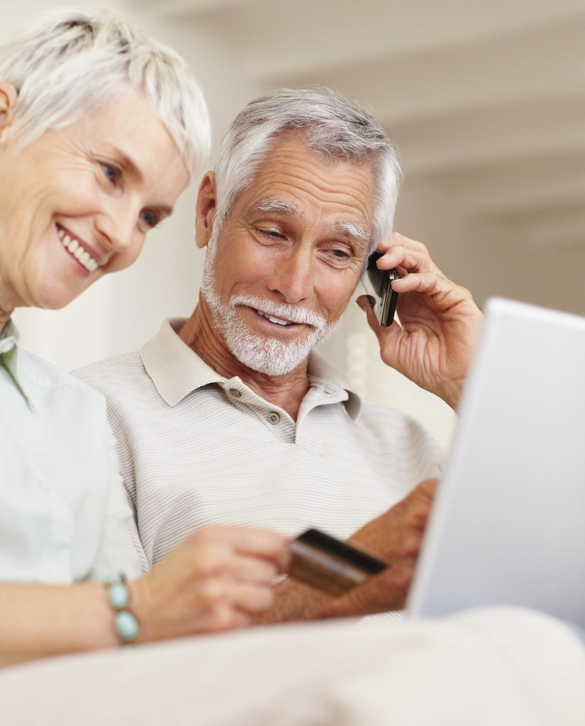 Elderly Using Technology Cute Elderly Couple Using
