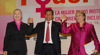 "US Secretary of State Hillary Rodham Clinton, Peruvian President Ollanta Humala Tasso and UN Women Executive Director Michelle Bachelet emphasized gender equality at the event ""Power: Women as Drivers of Growth and Social Inclusion,"" on 16 October 