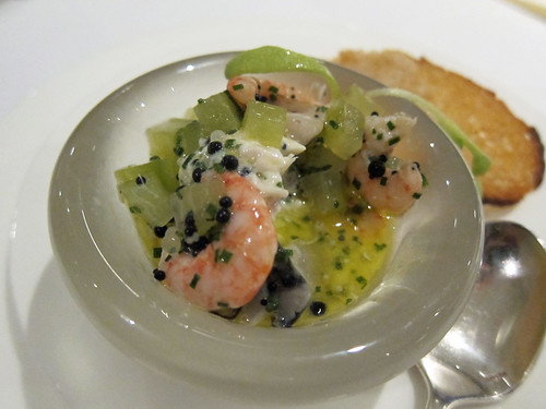 Rillette of Smoked Cornish Mackerel with a Vinaigrette of Poole Prawns, Oysters, Sea Water Jellies, Cucumber and Caviar | by su-lin
