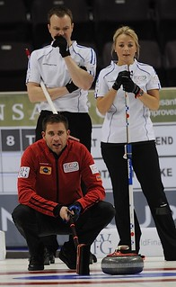 Penticton B.C.Jan13_2013.World Financial Group Continental Cup.Team North America third John Morris,Team World skip Tom Brewster,third Anna Sloan.CCA/michael burns photo | by seasonofchampions