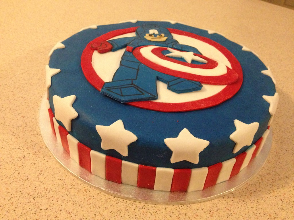 Captain America Themed Birthday Cake Captain America Lego Flickr