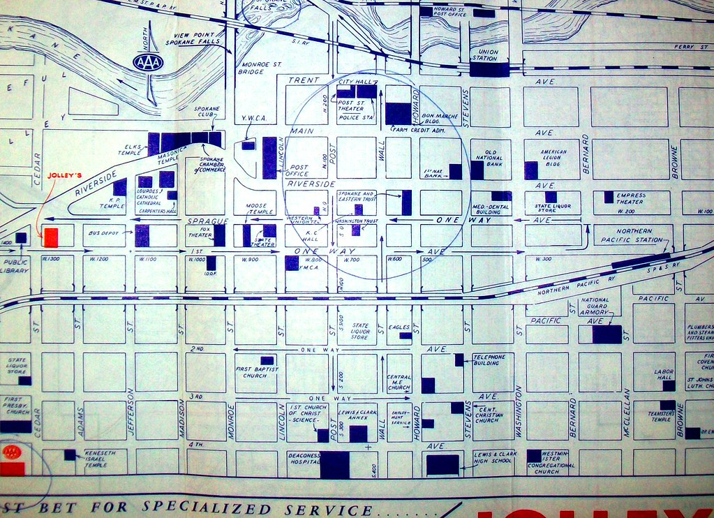 Downtown Spokane WA 1960s Map by AAA davecito Flickr