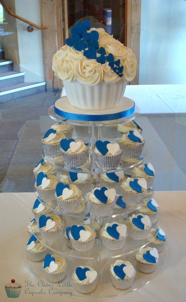 royal blue wedding cake and cupcakes cobalt blue wedding tower all vanilla www 19369