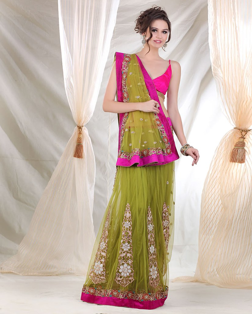 Meena Bazaar Lehenga Saree With Embroidery Bootas At Big