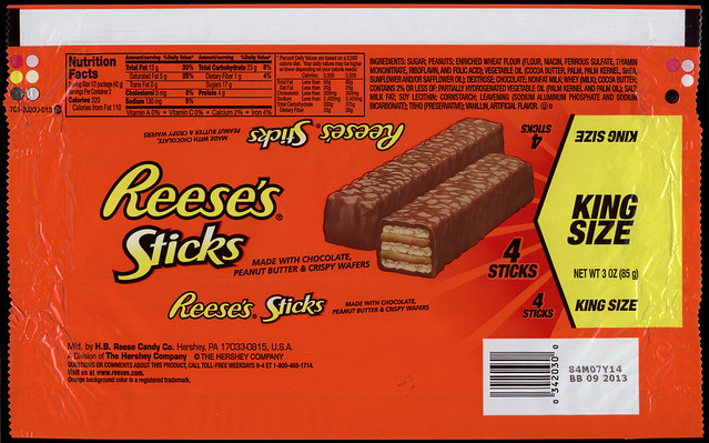 Hershey Reese 39 s Sticks King Size candy package wrapper 2012
