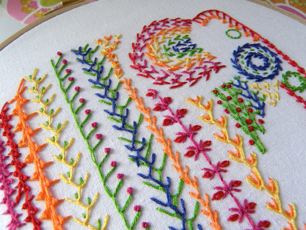 Knotted feather stitch sampler for tast you can find