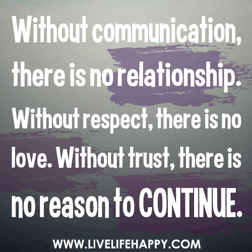 Without Communication, There Is No Relationship. Without R