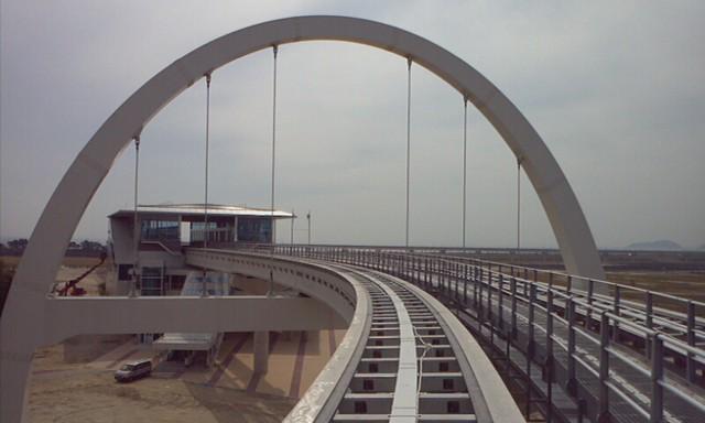 1349750633733  Incheon Maglev Arch Bridge. Under construction.