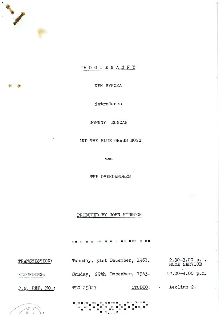 Hootenanny radio script dec front page ken