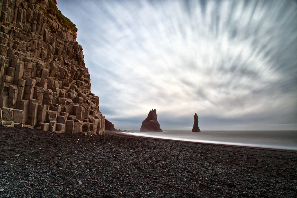 The Black Beach In Iceland Reynisdrangar Are Basalt Sea