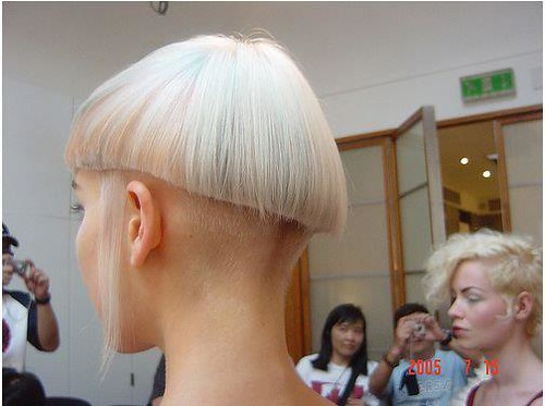 Buzzed Nape Geometric Haircut Blonde Short Haircuts