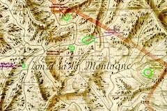 Extrait du Plan Terrier du secteur centre du Haut-Cavu avec les bergeries de Strascinella, Mela, Lora et Sainte-Lucie ainsi que l'église de San Martinu