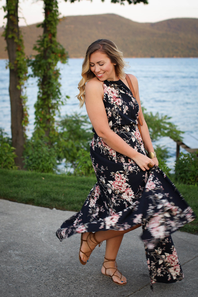 Dark Navy Floral Maxi Dress Brown Lace Up Sandals Late Summer Outfit Lake George New York Sagamore Resort Bolton Landing Living After Midnite Jackie Giardina