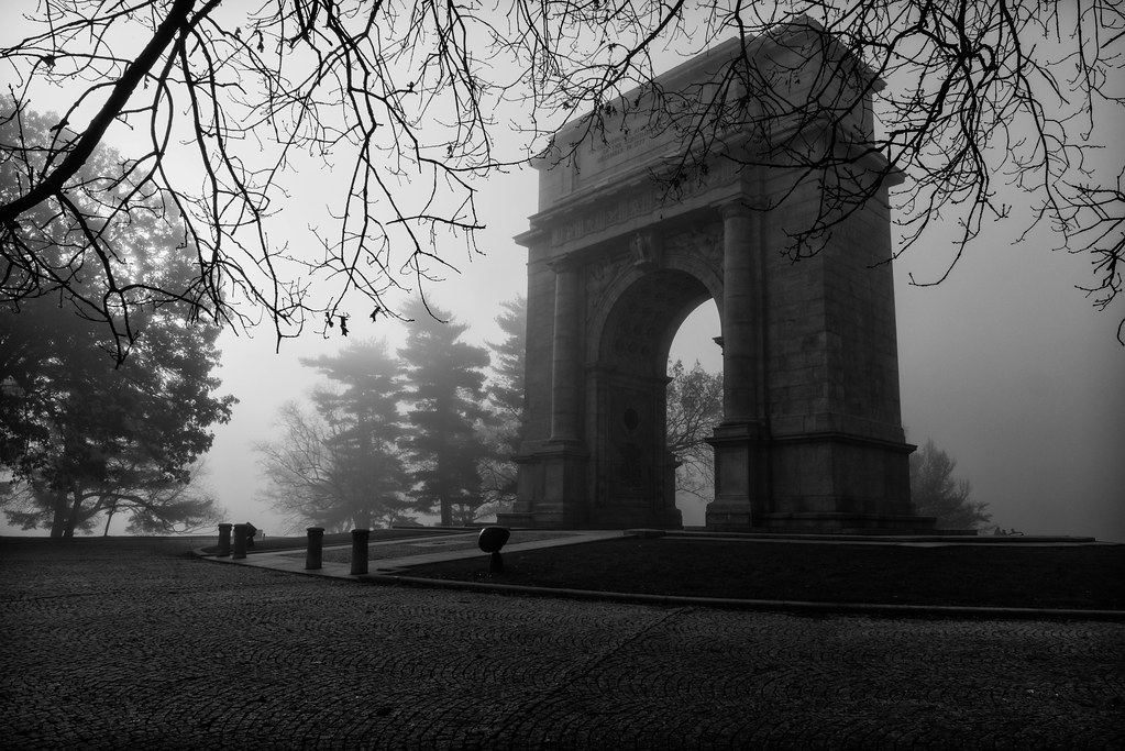 Valley Forge National Memorial Arch In The Fog B W Flickr