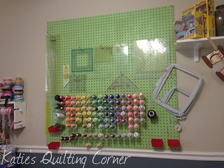Pegboard with some stuff added including part of my embroidery thread supply | by MagnoliaFly