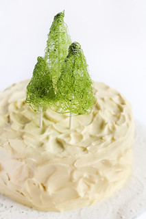 Coconut Cake with Whipped Lemon Cream Cheese Icing & Spun Sugar Christmas Trees | by raspberri cupcakes
