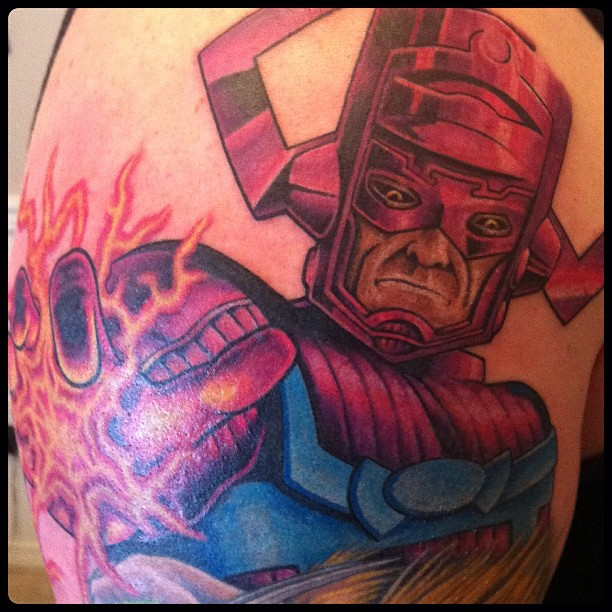 Crappy pic of more progress on #marvelsleeve. Galactus! #t