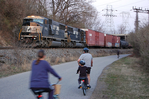 NS freight with cyclists Plymouth Twp March-14-2012 | by Philly Bike Coalition