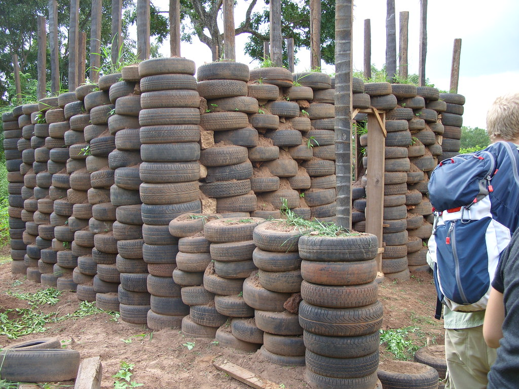 Tire Building Made Discarded Tires
