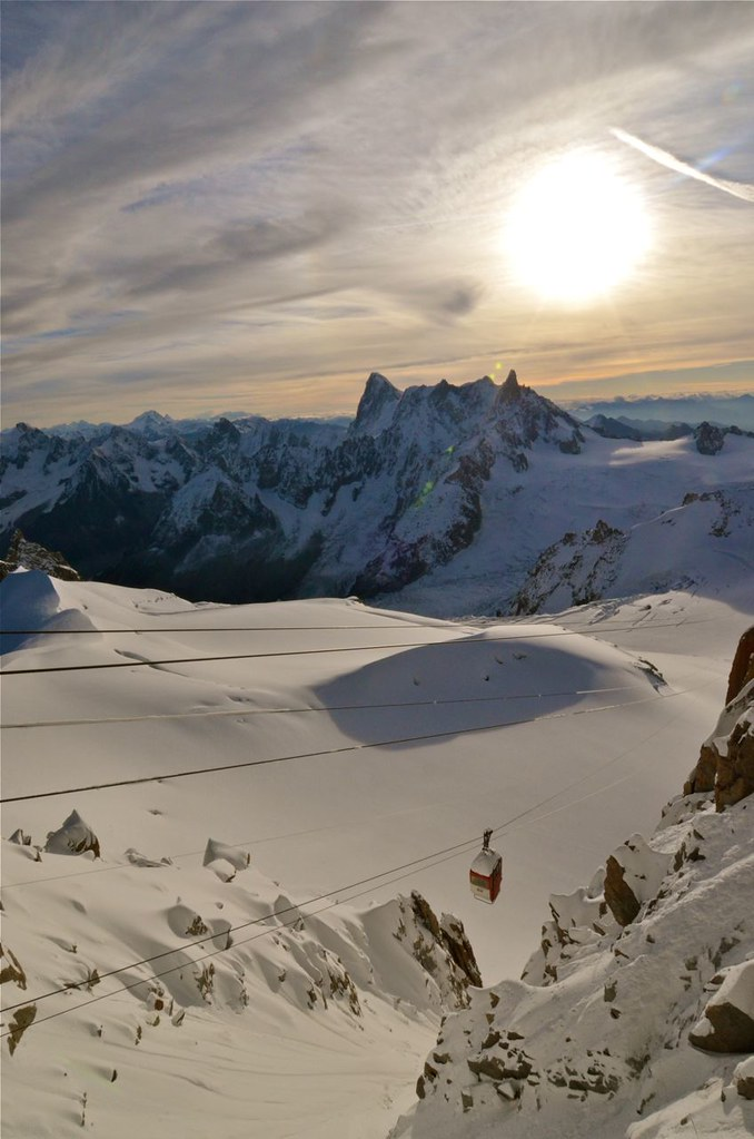 chamonix mont blanc old cable car and grandes jorasses
