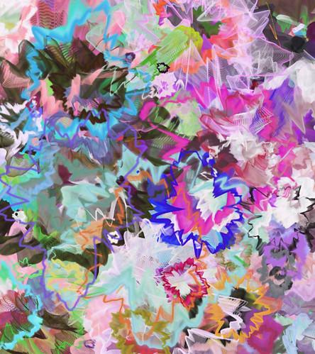 Generative Art_(2016_09_01)_1 画面全体が色とりどりの複雑に歪んだ蛇腹状の円環模様で埋め尽くされている。
