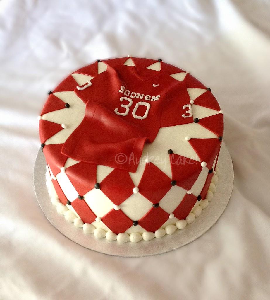 Oklahoma University OU Football Jersey 30th Birthday Cake