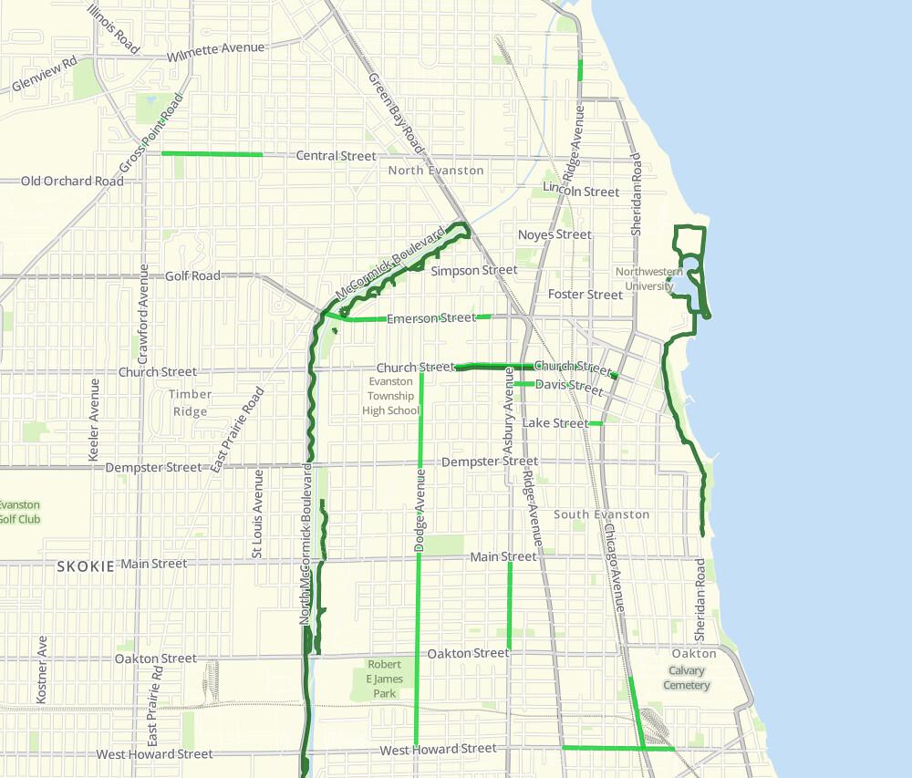 Evanston bike lanes in the Chicago Bike Map app Visit the Flickr