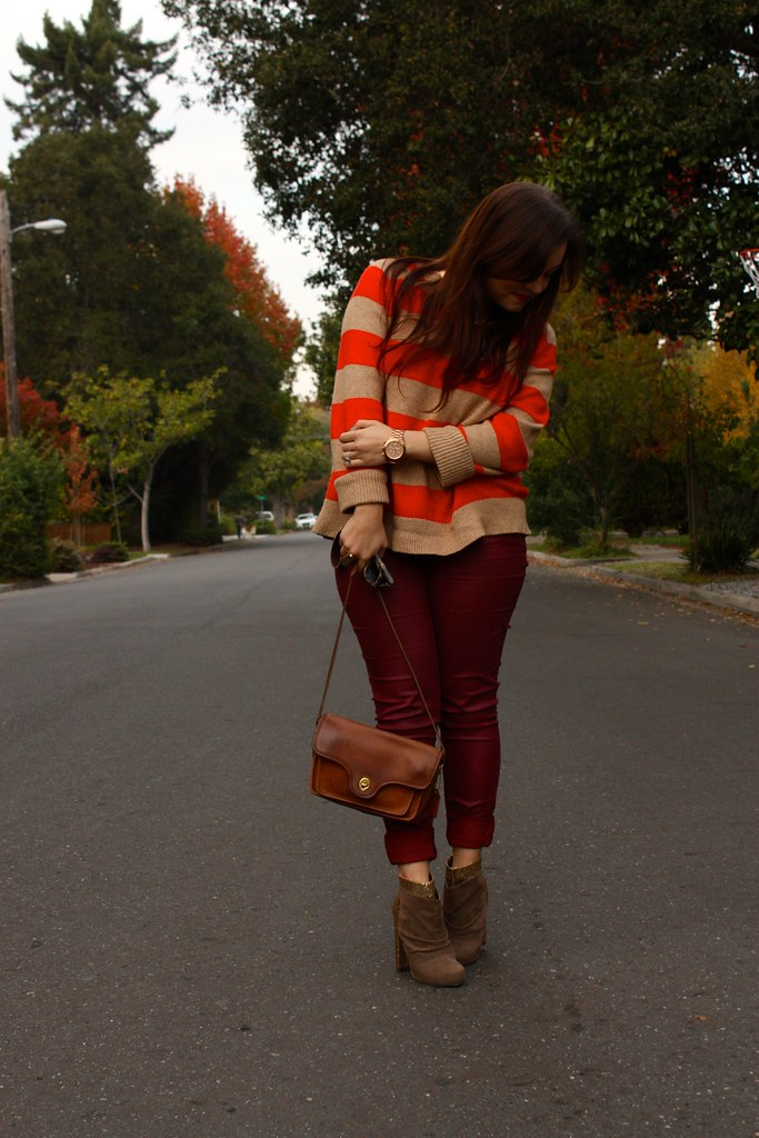 fa2838ad3b056 ... burgundy waxed jeans with orange striped lands end sweater and brown  coach bag plus glitter booties