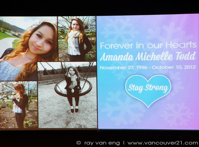 Montage of Images Projected on Screen, Amanda Todd 'Anti ...