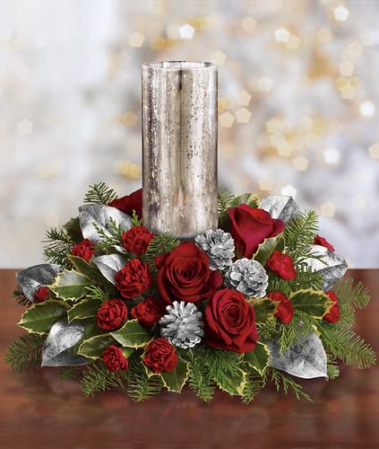 Teleflora s silver glow christmas centerpiece