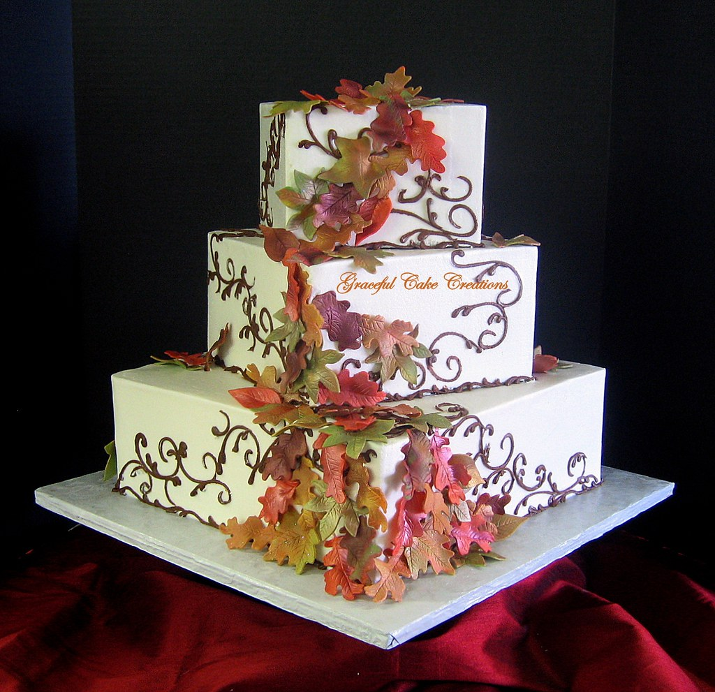 elegant fall wedding cakes square fall leaves wedding cake grace tari flickr 13960