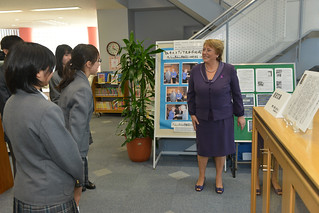 UN Women Executive Director Michelle Bachelet speaks with students from Shibuya Junior and Senior High School, where she addressed to the student body and held an interactive discussion | by UN Women Gallery