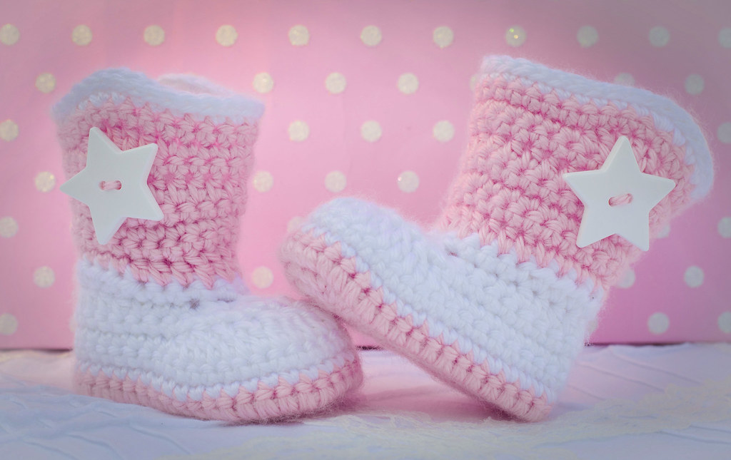 Pink And White Cowboy Booties Pattern By The Lovely Crow Flickr