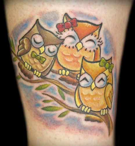 Cute owls custom tattooing by ainslie heilich of vintage for Vintage tattoo art parlor