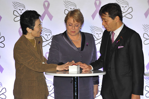 UN Women Executive Director Michelle Bachelet participates in the Tokyo Tower's Lighting event organized by the Cabinet Office's Gender Equality Bureau as part of the ending violence against women week | by UN Women Gallery