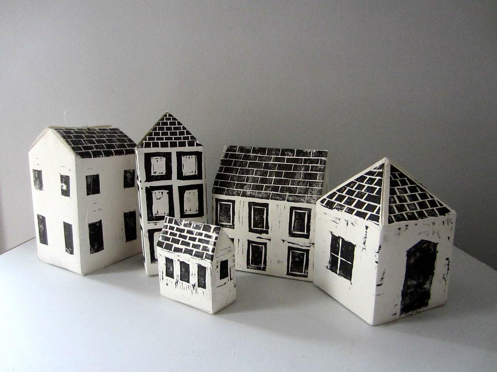 paper houses 3d woodcut prints made for perspective lif flickr. Black Bedroom Furniture Sets. Home Design Ideas