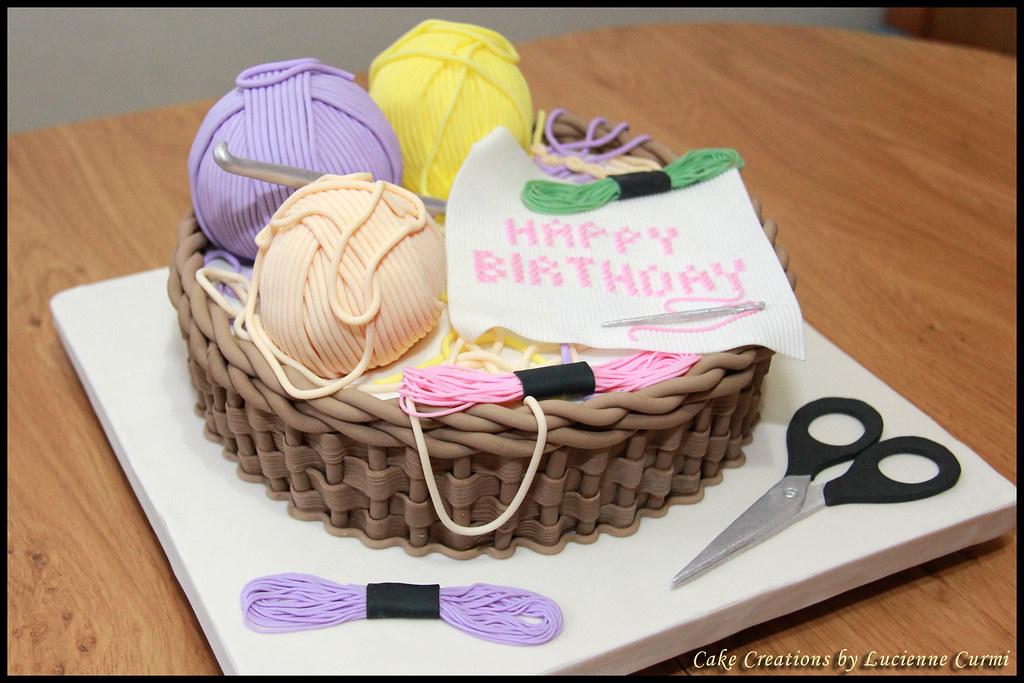 Crochet Themed Birthday Cake