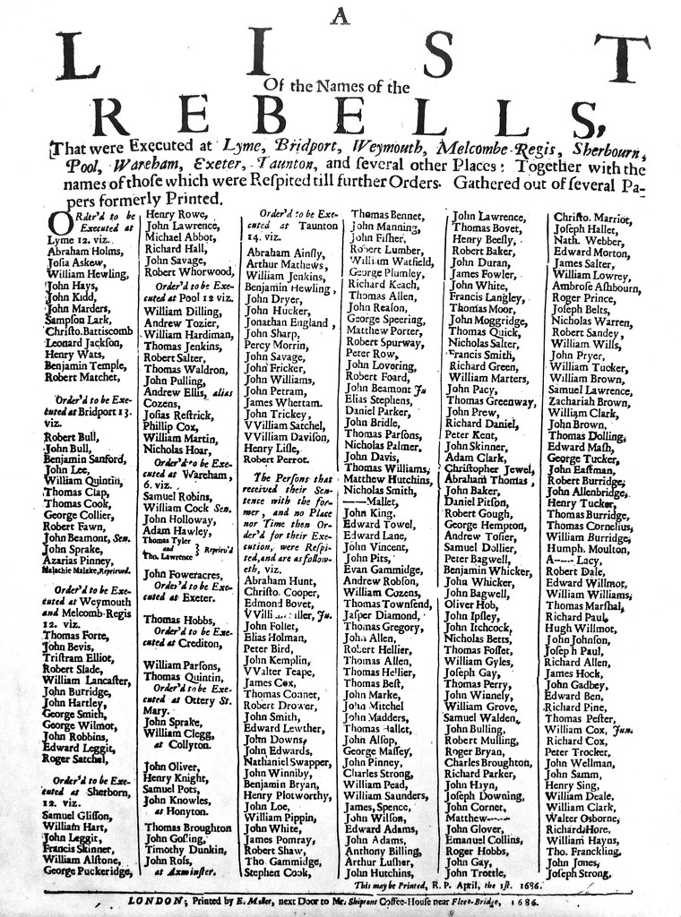 A List Of The Names Of The Rebels