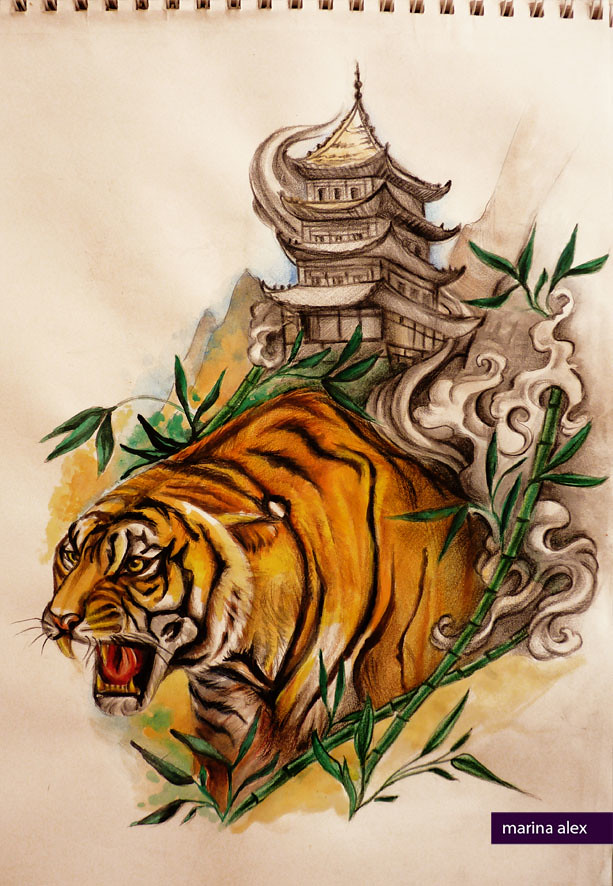 oriental tattoo design tiger and pagoda marina alex flickr. Black Bedroom Furniture Sets. Home Design Ideas