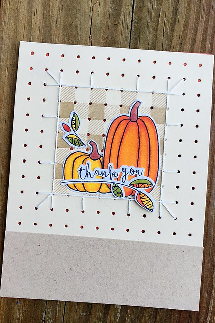 Chicken Scratch Stamp Set and Cover Plate, Autumn Pumpkins, and Fall Foliage by Papertrey Ink