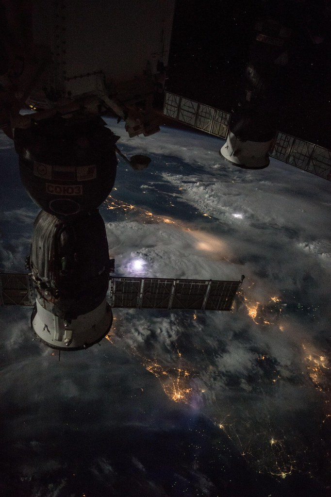 Moon, Thunderstorms Illuminate Beautiful Night Scene from ISS