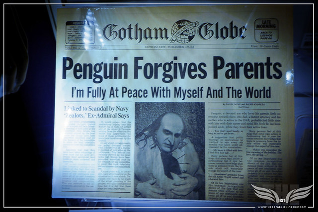 "The Establishing Shot: GOTHAM GLOBE ""PENGUIN FORGIVES PARENTS"" NEWSPAPER FROM BATMAN RETURNS - PROP STORE ENTERTAINMENT LIVE AUCTION PREVIEW EXHIBITION - ODEON BFI IMAX, LONDON"