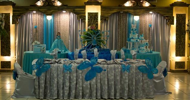 Quinceanera reception houston texas butterflies turquoise