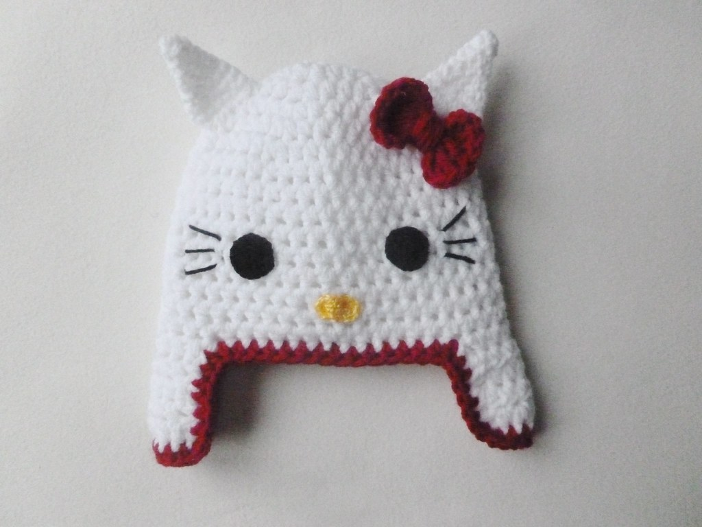 Free Crochet Pattern Hello Kitty Hat : Hello kitty crochet hat I made this sweet hello kitty ...