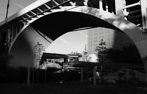 Main Street Bridge over Buffalo Bayou, Houston, Texas 1211181636BW | by Patrick Feller