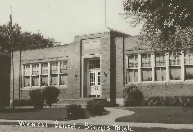 Sw Sturgis Mi Rppc 1930s City Wentzel Elementary School Building And Grounds St Joseph County